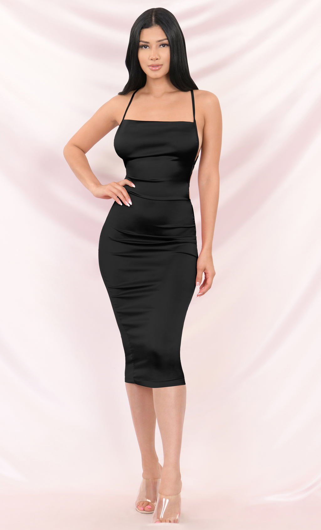 Watch Me Shine Black Satin Sleeveless Spaghetti Strap Lace Up Backless Drape V Neck Bodycon Midi Dress