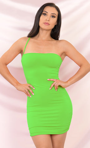 Sweet Talker Neon Green Ruched Mesh Spaghetti Strap Stretch Square Neck Tube Mini Dress