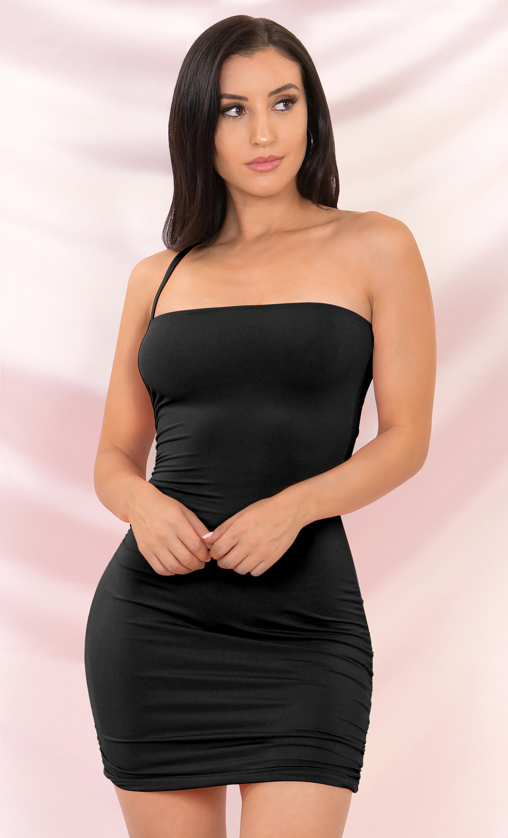 Bright Night Black Sleeveless Spaghetti Strap One Shoulder Ruched Bodycon Mini Dress - 4 Colors Available