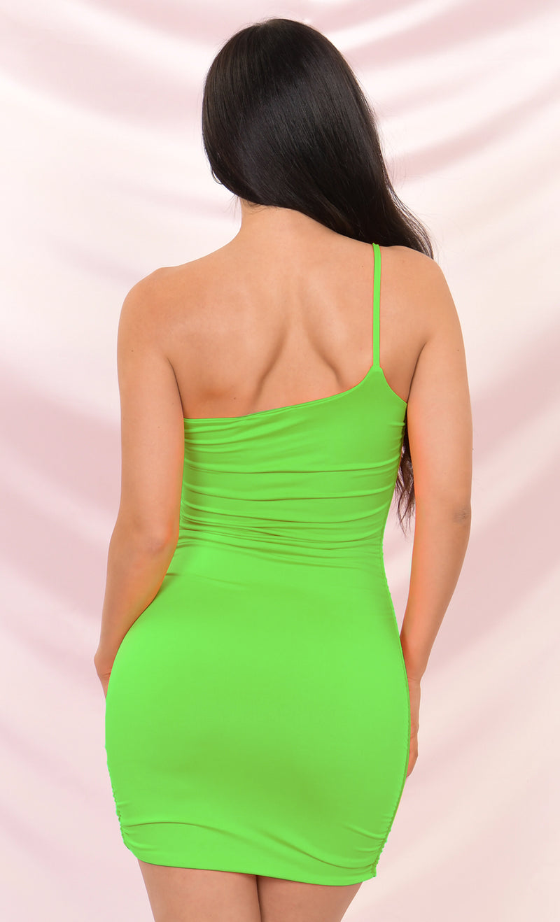 Bright Night Neon Green Sleeveless Spaghetti Strap One Shoulder Ruched Bodycon Mini Dress - 4 Colors Available