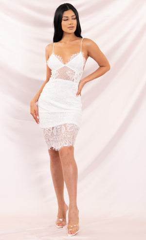 Change Partners White Sheer Eyelash Lace Sleeveless Spaghetti Strap V Neck Bodycon Midi Dress