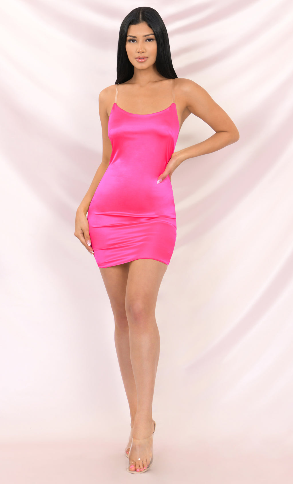 Look My Way Neon Pink Clear Spaghetti Strap Faux Silk Satin Sleeveless Bodycon Mini Dress - 3 Colors Available