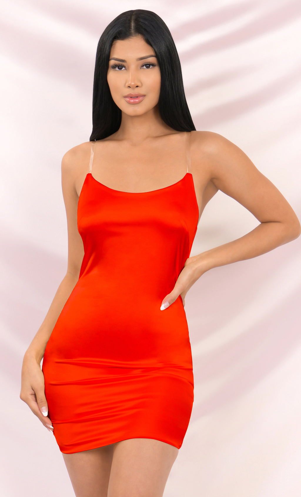 Look My Way Red Clear Spaghetti Strap Faux Silk Satin Sleeveless Bodycon Mini Dress - 3 Colors Available
