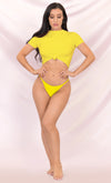 In A Flash Yellow Short Sleeve Crew Neck Knot Crop Top String Brazilian Two Piece Bikini Swimsuit