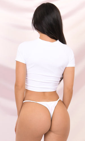 In A Flash White Short Sleeve Crew Neck Knot Crop Top String Brazilian Two Piece Bikini Swimsuit