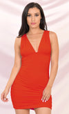 Night Fever Orange Satin Long Sleeve Cross Wrap V Neck Belt Bodycon Mini Dress