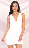 Must Be Love White Long Sleeve Plunge V Neck Ruched Ruffle Bodycon Mini Dress