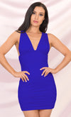 Acceptance Speech Blue Satin Sleeveless Spaghetti Strap Drape Cowl Neck Cut Out Back Maxi Dress