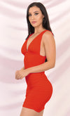 Play The Game Orange Sleeveless Plunge V Neck Low Back Ruched Bodycon Mini Dress