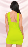 The Game Neon Green Sleeveless Plunge V Neck Low Back Ruched Bodycon Mini Dress