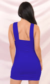 Play The Game Lavender Sleeveless Plunge V Neck Low Back Ruched Bodycon Mini Dress