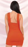 Play The Game Red Sleeveless Plunge V Neck Low Back Ruched Bodycon Mini Dress