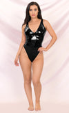 Devilish Angel Black PU Faux Leather Vinyl Sleeveless V Neck Thong Bodysuit Top - 2 Colors Available