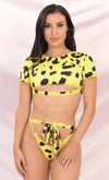 It's My Time Leopard Two Piece Bandage Short Sleeve Crop Top Cut Out Tie Thong Bikini Swimsuit