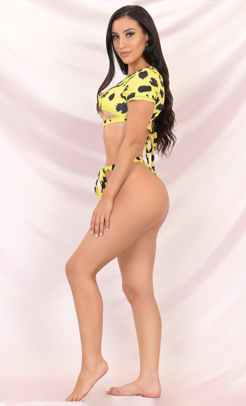 It's My Time Yellow Leopard Two Piece Bandage Short Sleeve Crop Top Cut Out Tie Thong Bikini Swimsuit