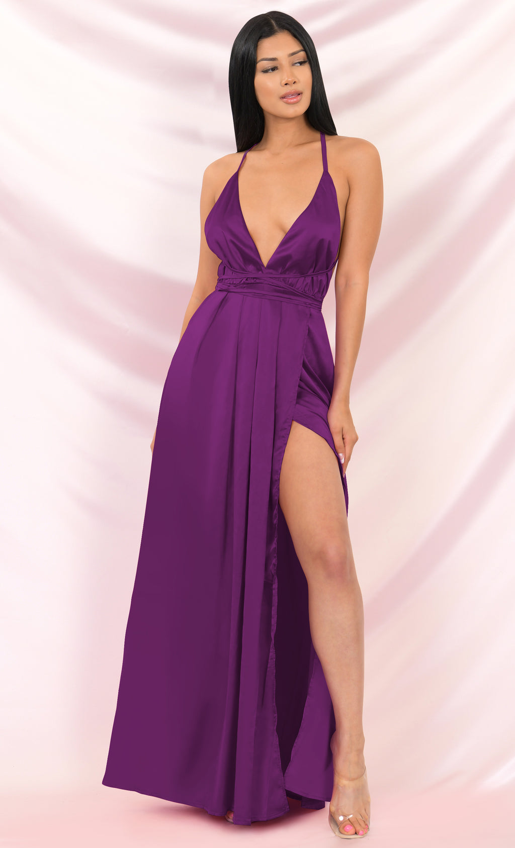 Ivory Tower Purple Satin Spaghetti Strap V Neck Backless Double Slit Maxi Dress