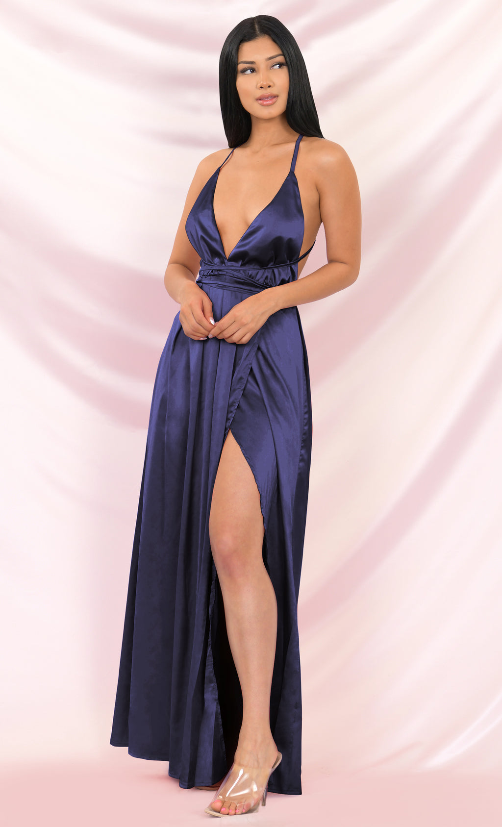 Ivory Tower Navy Satin Spaghetti Strap V Neck Backless Double Slit Maxi Dress