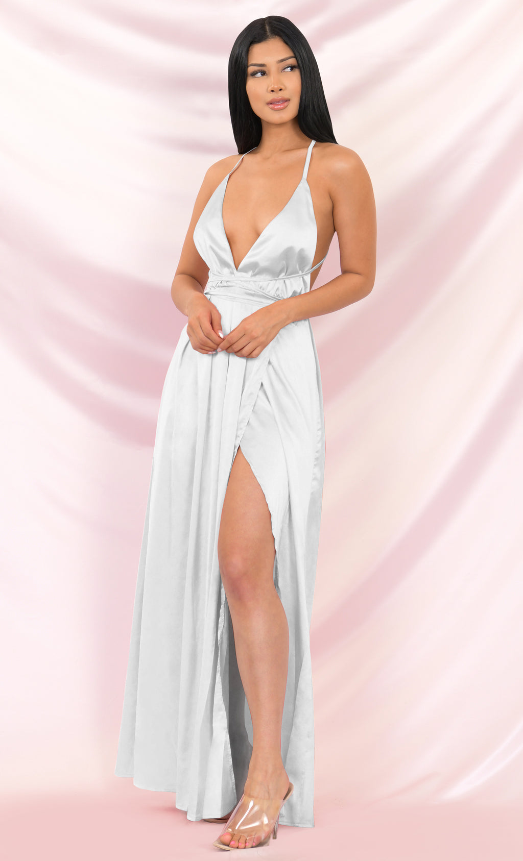 Ivory Tower White Satin Spaghetti Strap V Neck Backless Double Slit Maxi Dress