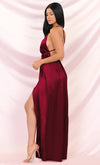 Ivory Tower Burgundy Satin Spaghetti Strap V Neck Backless Double Slit Maxi Dress