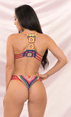 Cabana Cutie Red Green Yellow Pink Crochet Stripe Sleeveless Cut Out Plunge Swimsuit Pattern