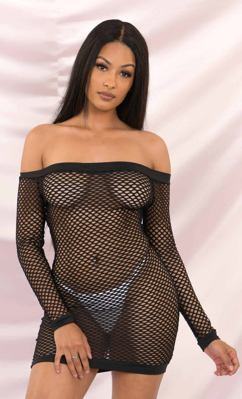You Bet Fishnet Black Mesh Beach Cover Up Cut Out Long Sleeve Off The Shoulder Bodycon Casual Mini Dress