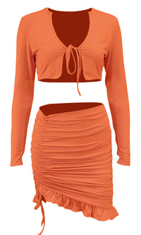 I Get It Long Sleeve V Neck Tie Front Crop Top Bodycon Ruffle Ruched Casual Two Piece Mini Dress