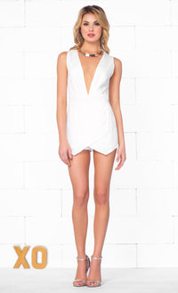 Indie XO So Angelic White Plunging V Neck Sleeveless Open Sexy Mini Skort Style Origami Wrap Romper - SOLD OUT - Sold Out