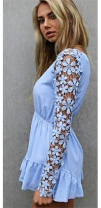 Pastel Navy Blue Pink Plunging V Neck Floral Lace Long Sleeve Ruffled Romper- Sold Out