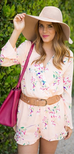 Peach Floral V Neck Wrap Front Long Sleeve Elastic Waist Ruffle Hem Romper - Sold Out