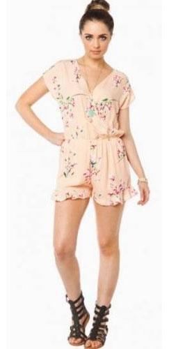 740052c95a65 Peach Floral V Neck Wrap Front Short Sleeve Elastic Waist Ruffle Hem Romper  - Sold Out