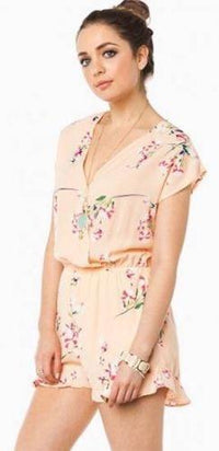 Peach Floral V Neck Wrap Front Short Sleeve Elastic Waist Ruffle Hem Romper - Sold Out