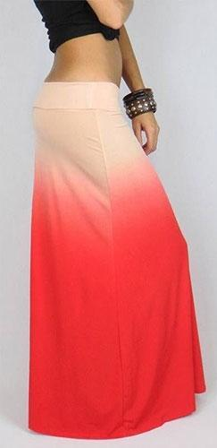 Pink Coral TwoTone Fade Folded Waist Maxi Skirt Full Length Loose Long Ombre - Sold out