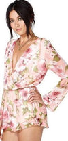 Ivory Pink Green Floral Print Wrap Front Long Sleeve Shorts V Neck Romper - Sold Out