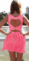 Neon Coral Pink Heart Cut Out Back Sweetheart Sleeveless Flare Mini Dress - Sold Out