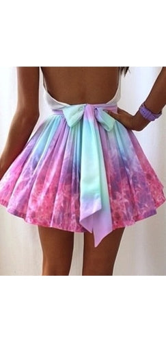 Fuchsia Pink Lavender Purple Galaxy Tie Dye High Waist Pleated  A Line Bell Flare Circle Skater Mini Skirt - Sold Out