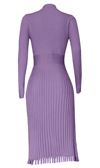 All You Want Fuchsia Pink Pleated Crew Ribbed Round Neck Modest Long Sleeve Stretch Knit Body Con Sweater Midi Dress