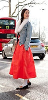 Bright Lipstick Red Pearlescent Bell Flare A Line Pleated Skater Midi Skirt - Sold Out