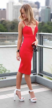 Bright Tomato Red Plunging Sweetheart Notch Sleeveless Adjustable Strap Body Con Fitted  Midi Dress - Sold out