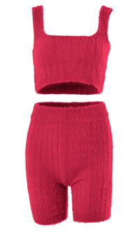 Get My Drift Fuzzy Ribbed Sleeveless Square Neck Crop Top Biker Short Two Piece Romper Set