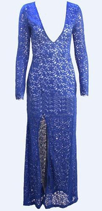 Royal Blue Floral Lace Plunging Deep V Long Sleeve Slit Hem Fitted Maxi Dress - Sold Out