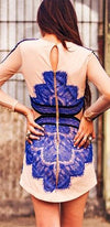 Lace Seduction Nude Beige Royal Blue Lace Stripe Cinched Waist Long Sleeve Mini Dress - Sold Out