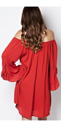 Rust Orange Off The Shoulder Peasant Long Ruffle Bell Sleeve Chiffon Tube Mini Dress - Sold Out
