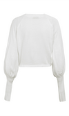 Just Chillin Long Lantern Sleeve White Crop Round Neck Pullover Sweater
