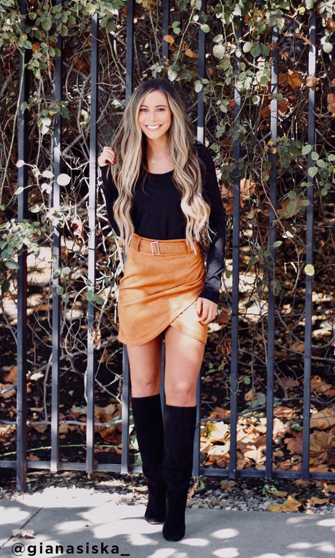 I'll Per-Suede You Faux Suede Cross Wrap High Waist Belted Tulip Hem Mini Skirt - 2 Colors Available