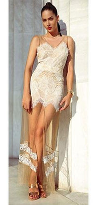 Bright Citron Yellow White Black Nude V Neck Exclusive Luxe Lace Slit Mesh Fitted Maxi Sleeveless Dress - 4 Colors Available - Sold Out