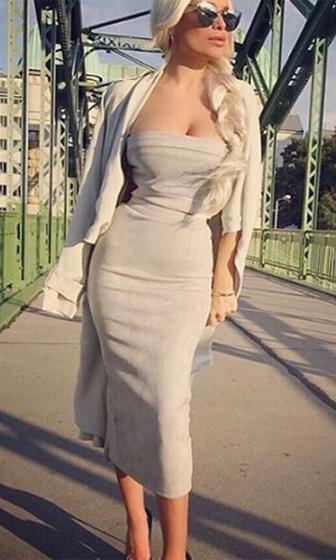 Power Couple Faux Suede Strapless Crop Bandeau Bodyon Two Piece Midi Dress - 3 Colors Available - Sold Out