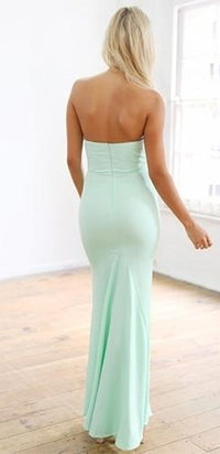 Pastel Mint Green Sweetheart Fitted Mermaid Hem Flowy Maxi Dress - Sold Out