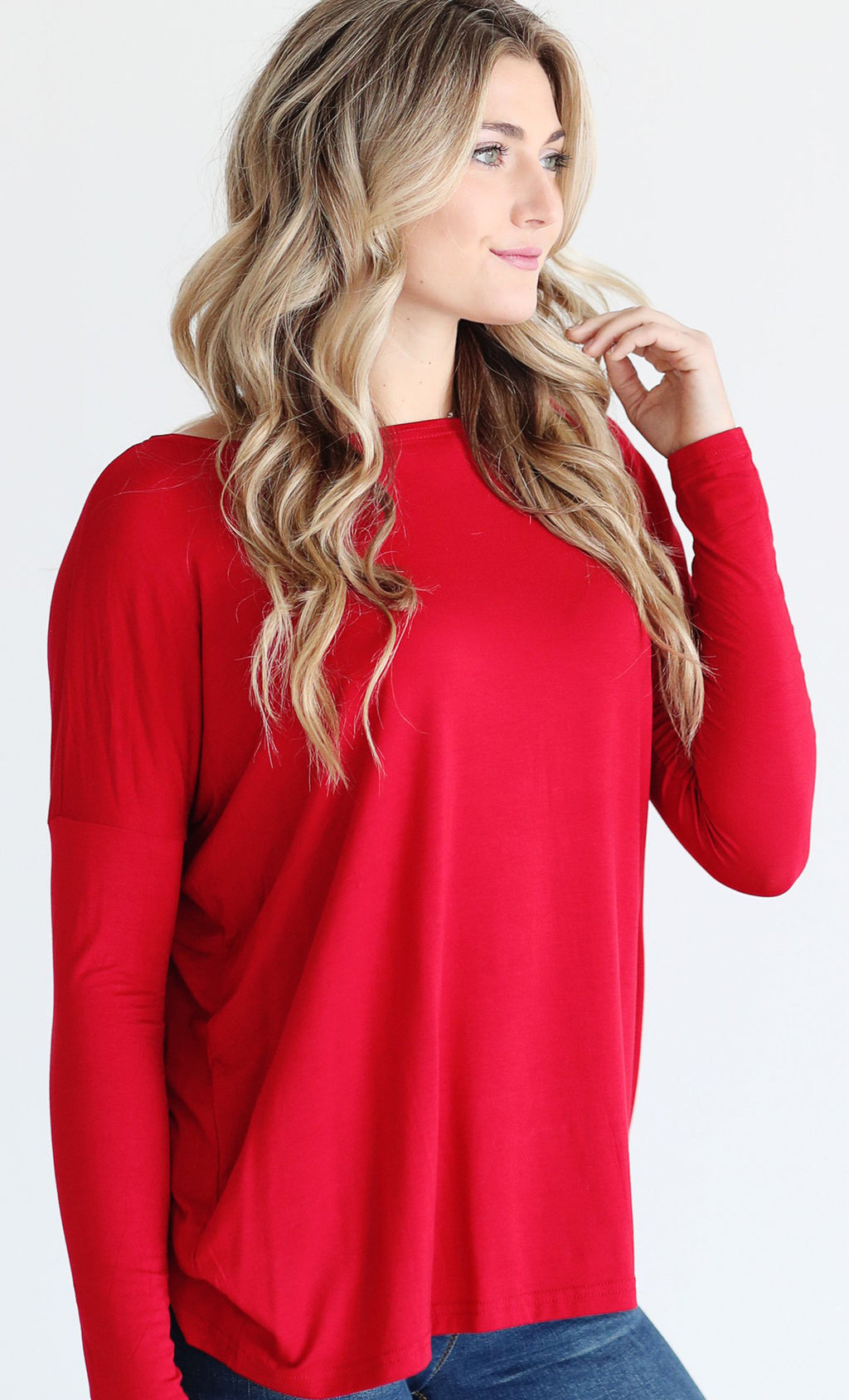 Basic Piko 1988 Holiday Red Bamboo Piko Comfy Boat Neck Long Sleeve Slouchy Knit Tee Shirt Top