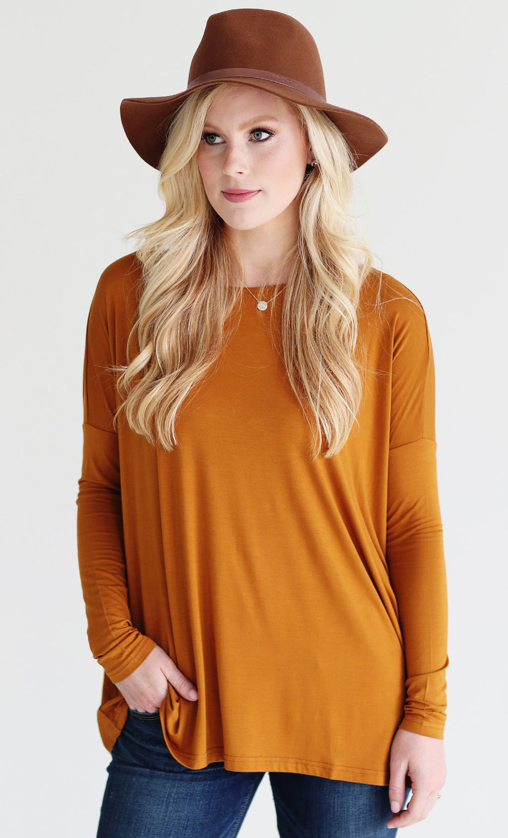 Basic Piko 1988 Dark Goldenrod Bamboo Piko Comfy Boat Neck Long Sleeve Slouchy Knit Tee Shirt Top