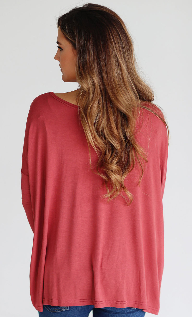 Basic Piko 1988 Marsala Wine Red Bamboo Piko Comfy Boat Neck Long Sleeve Slouchy Knit Tee Shirt Top